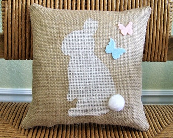 Bunny pillow, Easter pillow, Spring pillow, burlap pillow, Easter bunny, Easter decorations, stenciled pillow, FREE SHIPPING!
