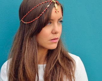 THE JASMINE Red Indian Chain Hair Jewelry Boho Festival Egyptian Head Chain Indian Pendant Mang Forhead Tikka Headpiece  Hair Christmas