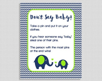 Don't Say Baby Game Sign, Navy & Lime Elephant Baby Shower Game, Diaper Pin Game, Chevron, DIY Printable, INSTANT DOWNLOAD