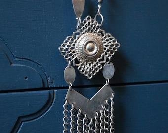 Seventies Necklace, Tassel Necklace, Hippie Necklace, Statement Necklace, Vintage Necklace