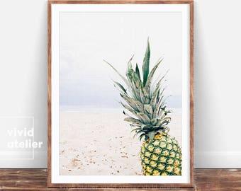 Pineapple Wall Art Print, Pineapple Photography, Beach Print, Beach Decor, Tropical Wall Print, Instant Download, Printable, Tropical Art