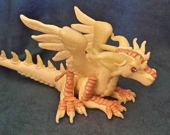 OOAK Yellow and Gold Feathered Dragon Figurine