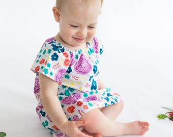 dress - watercolour flowers / organic cotton peasant-style dress pink green floral / eco friendly / girl toddler / 1 2-3 4 5 6 7-8 9 years