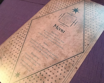 Harry Potter Wedding and Event Menu | History of Magic Book Menu for Weddings and Events
