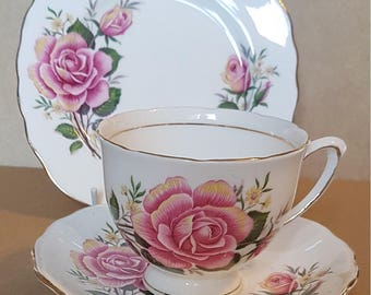 Colclough Large Rose trio - cup, saucer and side plate. Vintage from 1960s