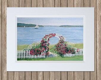 Original Garden Watercolor Painting - Rose Arbor on the Sea with White Picket Fence and Sailboats