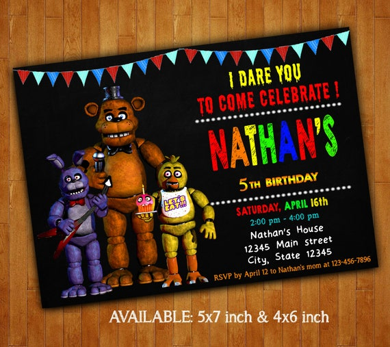 Five Nights At Freddys Invitations Five Nights At