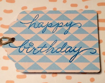 """Blue Triangles """"Happy Birthday""""  Paper Gift Tag"""