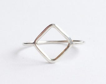 LINEAR DIAMOND RING - Sterling Silver Thin Ring - Simple Ring - Silver Geometric Ring