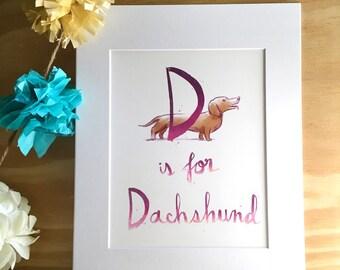 D: Dachshund - Kid's Room - Wall Art - Alphabet Print
