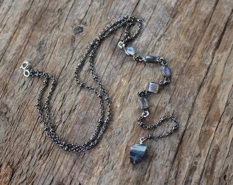 Gunmetal and Geometric Labradorite Y Necklace