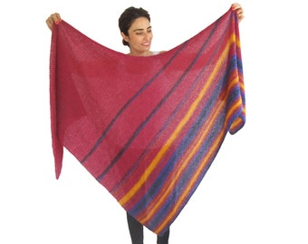 NEW! Colorful Mohair Triangle Shawl by Afra