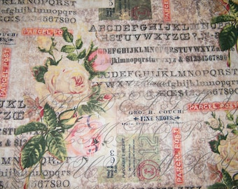 BTY Eclectic Elements Wallflower ROSE PARCEL Print 100% Cotton Quilt Crafting Tim Holtz Fabric by the Yard