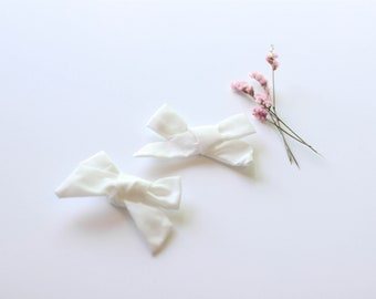 Pigtail Hair Bows - Bows for Pigtails - Pig Tail Bows - White Hair Bows - Set of Two Bows - White Bow Set