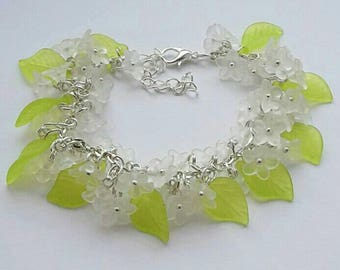 Floral lucite loaded charm bracelet fae nature hippie mori flower jewellery