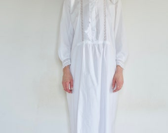 Victorian elaborate white cotton and lace long sleeve nightgown