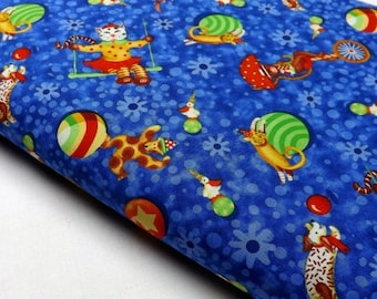 Under The Big Top P&B Textiles OOP Childrens Kids Circus Cats Dogs Teddy Bears Balls Ducks Swings Fabric  Quilting Fabrics Sewing