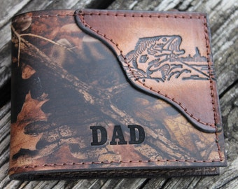 Wallet for DAD, Fish wallet, Bass Fishing Wallet,  Realtree Camo Leather..Initials or Name engraved Free!