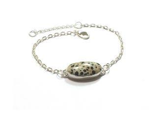 Dalmatian Jasper  Bracelet , Genuine Gemstone , Sterling Silver Bracelet  , Gift For Her