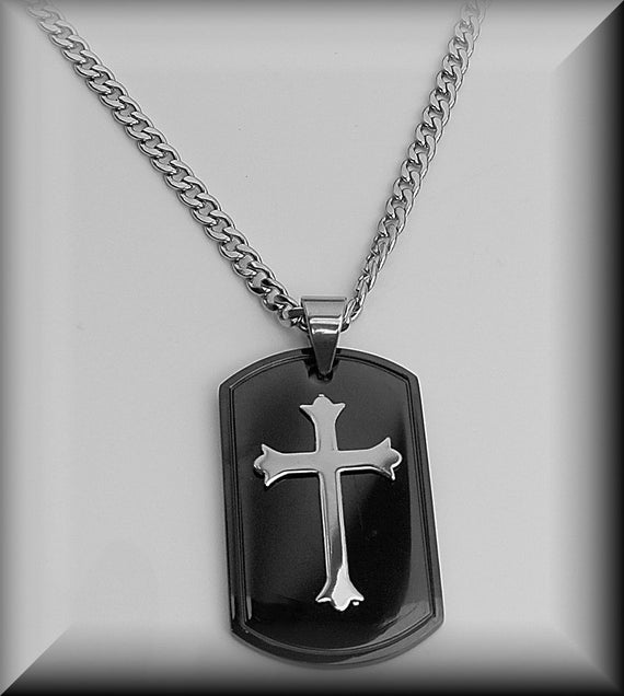 Cross dog tag necklace custom dog tag personalized cross audiocablefo