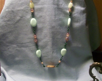 Handmade OOAK #18 Greens and Browns Necklace & Earrings Set