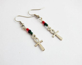 Silver Ankh Earrings RBG Egyptian Ankhs Beaded Jewelry Pan African Small