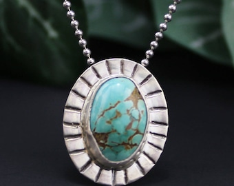Turquoise Necklace Sterling Silver, Western Necklace, Bohemian Jewelry, Turquoise Jewelry, December Birthstone, Birthstone Necklace, Gem