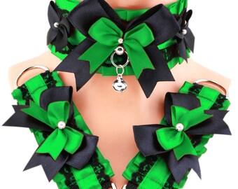 Kitten Play Collar and cuffs, green black bracelet, Pet Play Collar, Choker, puppy, BDSM Collar, Princess, pastel goth lolita, neko 10LW