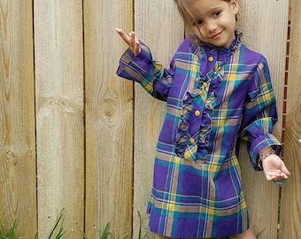 Vintage toddler girls purple plaid shirt dress