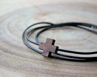 Wood Cross Wrap Bracelet / Men's Wood Cross Bracelet