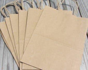 100 Pack - Kraft Paper Handle Bags(8x4x10)