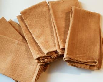Set of 8 vintage linen cotton ochre napkins, vintage ochre linen, vintage ochre napkins, vintage dining decor, saffron napkins