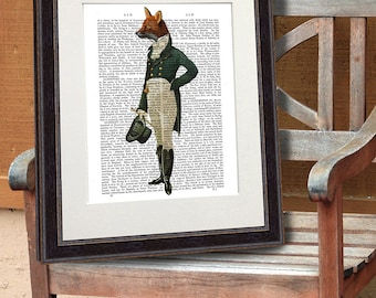 The Dandy Fox on Antiquarian Book Page, Regency Style Animal Art Print, Jane Austin Style Print, Fox illustration