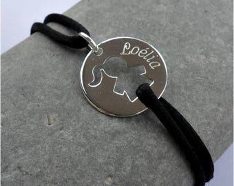 Custom silver character medal cord bracelet