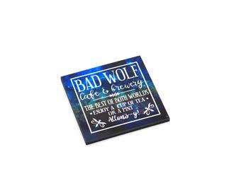 Bad Wolf Cafe & Brewery refrigerator magnet - Whovian/Tenth, 10th Doctor/geeky home decor, stocking stuffer