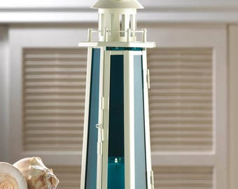 Nautical Candle Lamp - Ocean Glass - Lighthouse - Candle Holder