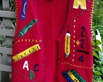 School House Chic/ School Theme Vest/ Vintage 80's Cardigan Vest/ Size M Tall/ Retro Victoria Jones Thrift/ Shabbyfab Thrifted Funwear