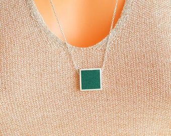Dioptase Square Sterling Silver Necklace, Dioptase Stone Pendant, Rolo Diamond Cut Chain, Square Pendant, Everyday, Minimalist Necklace