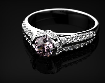 Pink Sapphire Engagement Ring White Gold Engagement Ring White Gold Pink Sapphire Ring Pink Gemstone Engagement Ring Pink Sapphire Ring