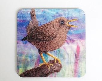 Wren bird coasters ~ wren gift - bird coasters ~  nature coasters ~ wren print ~ garden bird ~ bird gift