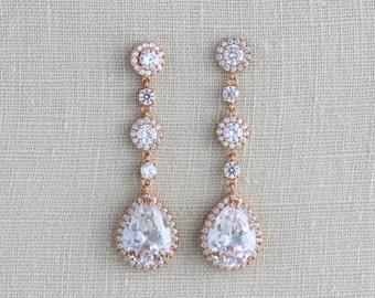 Long Bridal earrings, Rose gold earrings, Bridal jewelery, Bridesmaids earrings, Wedding earrings, Crystal earrings, Statement earrings