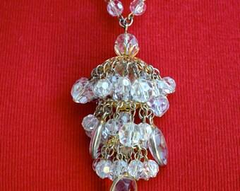 Three Tiered Crystal Bead Pendant Necklace Vintage