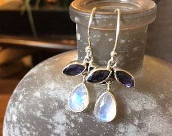 "Rainbow Moonstone and Iolite 925 Sterling Silver Earrings. Gorgeous color. 1 1/4"" Length."