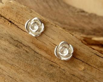 Rose Bud Studs - Silver