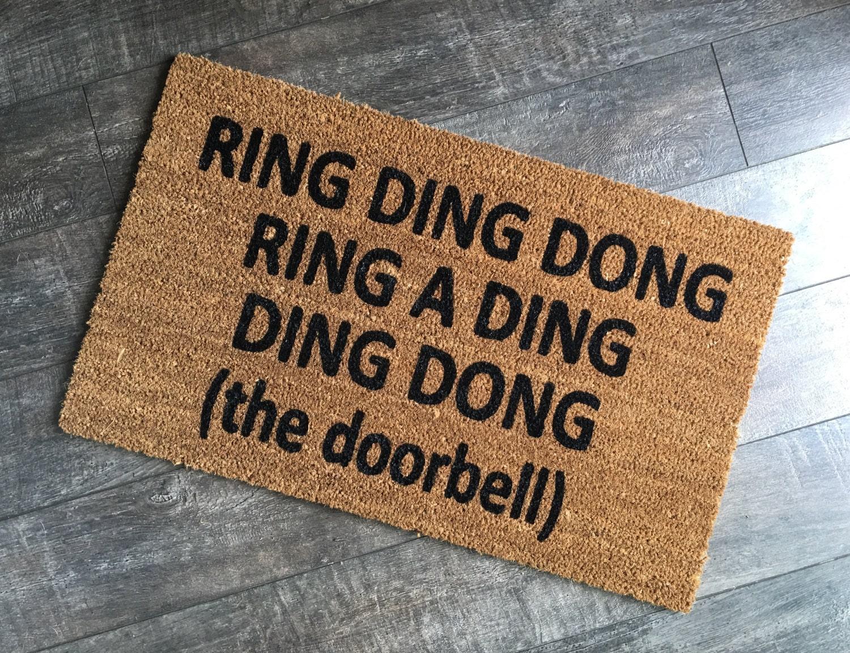 Funny Doormat / Rude Welcome Mat / Ring Ding Doormat /
