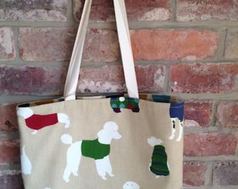 Tote Bag - Dogs in Coats Print - Reversible