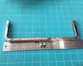 """Nickel Kiss lock purse frame, metal purse frame 10"""" x 3.5"""", purse making supplies"""