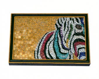 Glass Mosaic Wall Hanging - Zebra / Colorful / Bright / Black / White / Mustard Yellow / Artisan