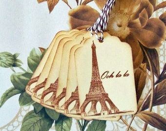 Tags Vintage French Eiffel Tower Ohh La La Gift Tags Price Tags Party Favor Wish Tree T034