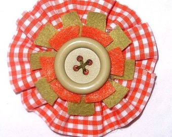 Fabric Flower Brooch or Pin in Orange & White Check with Herb Green and Orange Felt Accents - F3